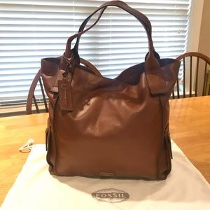 Fossil Brown Leather Emerson Tote Bag/ Purse